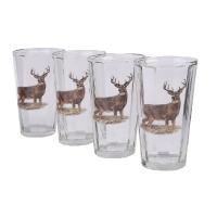 Набор стаканов TMB  Олень (прозрачное стекло, полированное основание, махагон) (9 шт.)