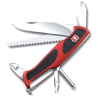 Нож VICTORINOX RangerGrip 56 р. 130 мм, 12 функций, с фиксатором лезвия, цв. красный с чёрным