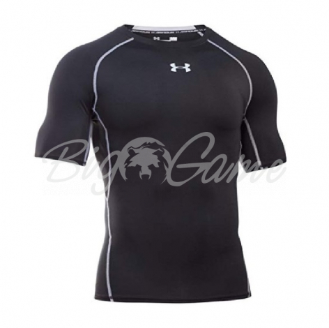 Футболка UNDER ARMOUR HeatGear Armour SS цвет Black / Steel фото 1