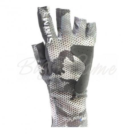 Перчатки SIMMS Solarflex Guide Glove цвет Hex Flo Camo Steel фото 1