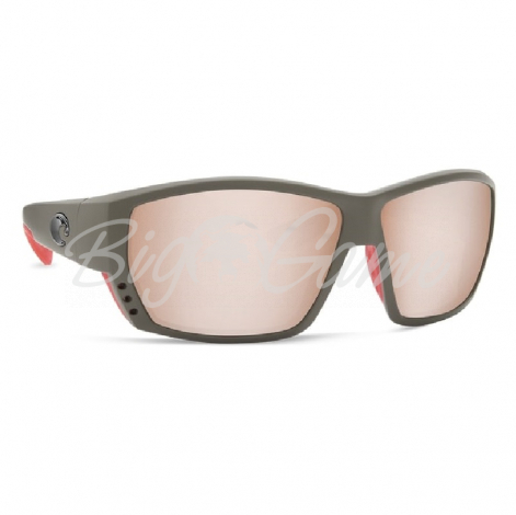 Очки COSTA DEL MAR Tuna Alley 580 GLS р. L цв. Matte Black Global Fit цв. ст. Copper Silver Mirror фото 1