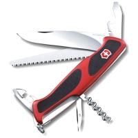 Нож VICTORINOX RangerGrip 55 р. 130 мм, 12 функций, с фиксатором лезвия, цв. красный с чёрным