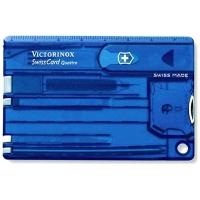Швейцарская карточка VICTORINOX SwissCard Quattro 13 функций цв. синий полупрозрачный