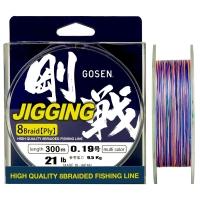 Плетенка GOSEN Jigging 8 Braid PE 300 м цв. Разноцветный #1.2