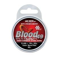 Поводковый материал SAVAGE GEAR Blood49 10 м 0,48 мм 11 кг 24 lb Coated Red