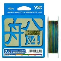 Плетенка YGK Veragass PEx4 200 м цв. Многоцветный # 0,6