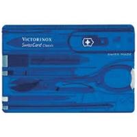 Швейцарская карточка VICTORINOX SwissCard Classic 10 функций, цв. полупрозрачная синяя