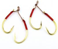 Крючок подвесной HAYABUSA FS-492 №1 B.N., оснастка из 2 крючков (2 шт.) (золото)