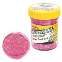 Паста форелевая BERKLEY PowerBait Extra Scent Glitter TroutBait цв. розовый