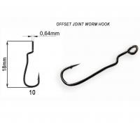 Крючок офсетный CRAZY FISH Offset Joint Worm Hook № 10 (8 шт.)
