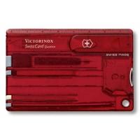 Швейцарская карточка VICTORINOX SwissCard Quattro цв. красный полупрозрачный, коробка подарочная